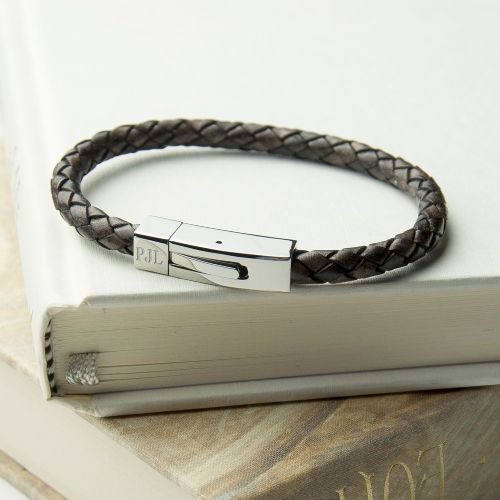 Personalised Leather Bracelet With Tube Clasp